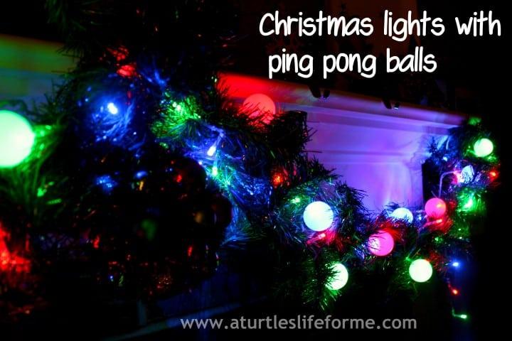 DIY Christmas lights with ping pong balls