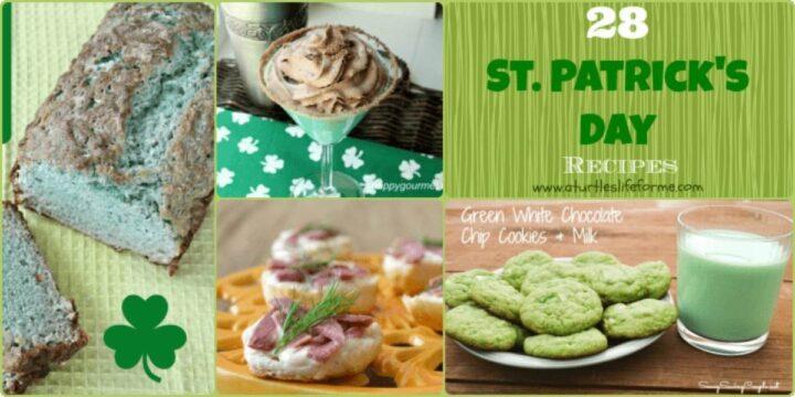 A Collage Image with different St Patricks Day Themed Recipes and the text that says 28 St Patricks Day Recipes