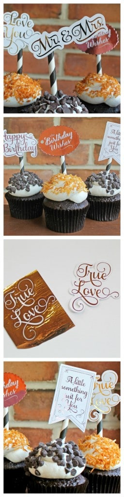 Learn how to make gold foil cupcake toppers at home!