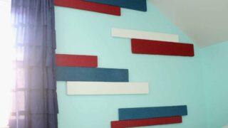 DIY Striped walls using styrofoam for a 3D effect!