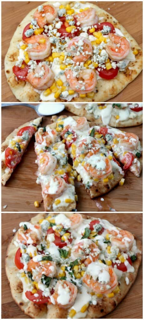 Fresh grilled shrimp pizza loaded with garden veggies and bleu cheese dressing! So easy and so delicious! This is perfect for summer!