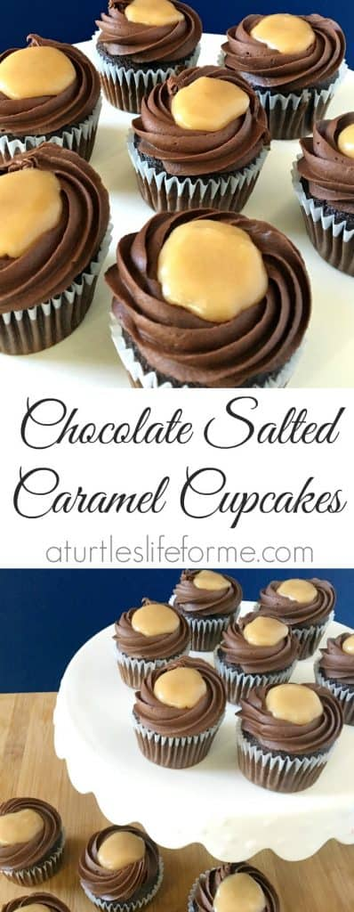 A pinterest pin with the text Chocolate Salted Caramel  Cupcakes with 2 images of the cupcakes on a white serving tray.