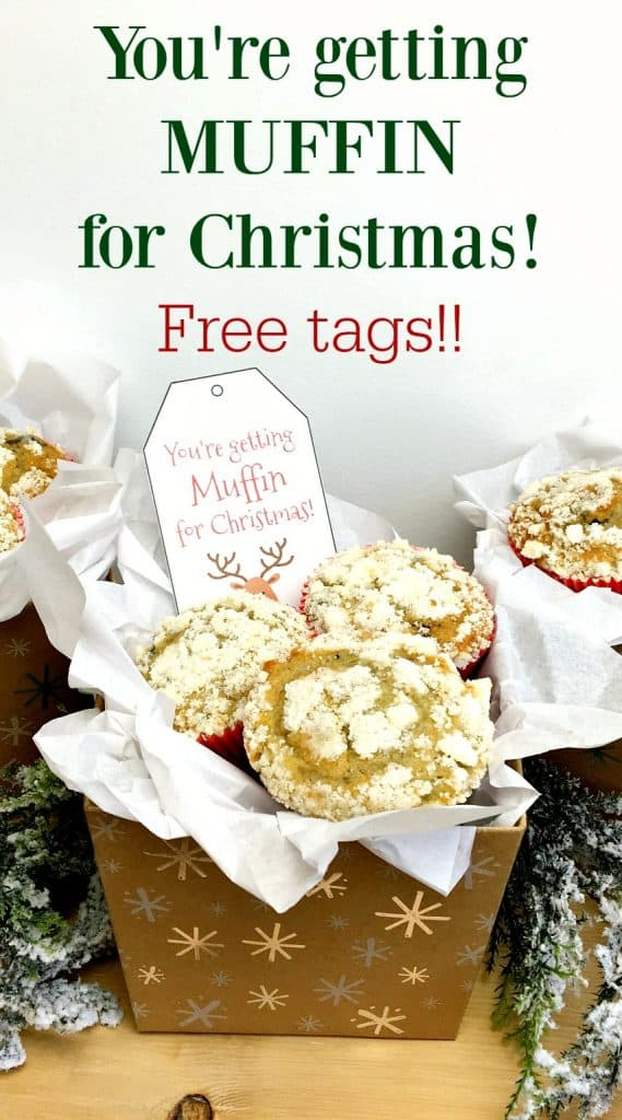 """A pinterest pin with the text """"You're Getting MUFFIN for Christmas!  Free Tags!"""" The image shows a  DIY Christmas muffin gift basket with the printed tags."""
