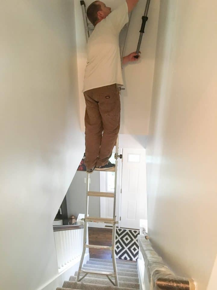 How to paintstairwell wall without scaffolding