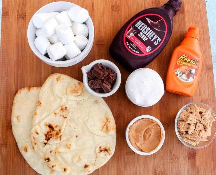 Ingredients List for Peanut butter s'mores pizza