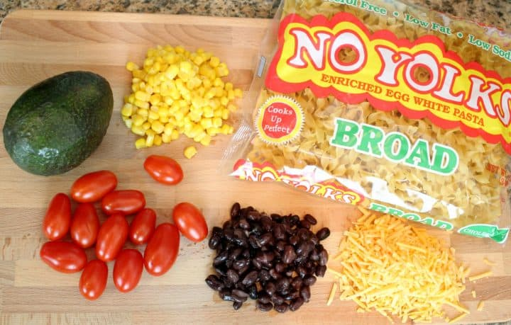 Ingredients for Cheesy Taco Noodle Skillet