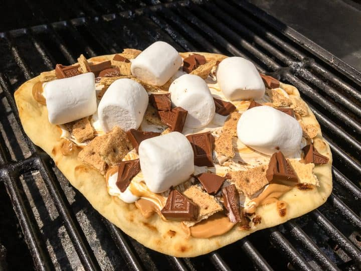 Peanut butter s'mores pizza recipe for the grill