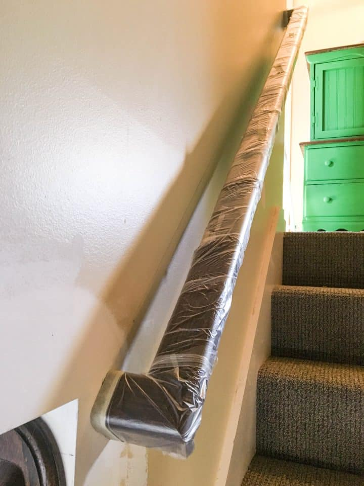 Step 1 covering a stair railing