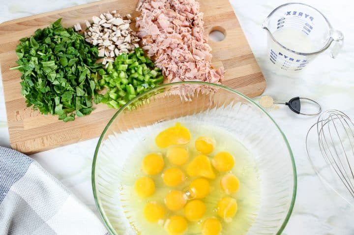 Ingredients for Ham and Egg Muffins
