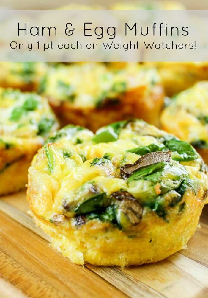 Weight Watchers Freestyle Friendly Ham and Egg Freezer Muffin with vegetables