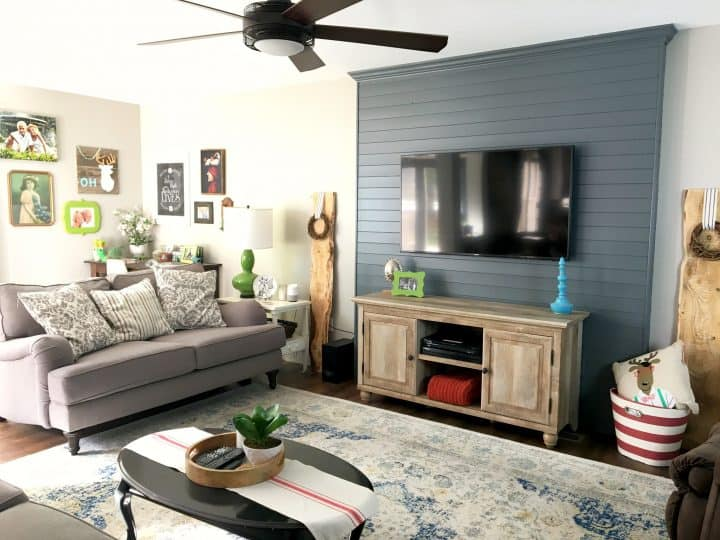 how to build a wood plank TV wall