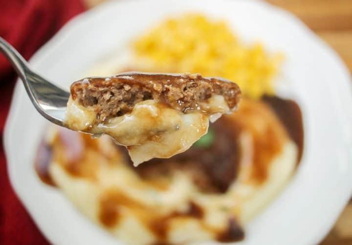 salisbury steak dinner with gravy