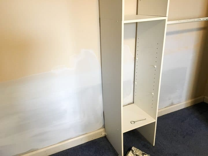 master closet makeover before priming drywall