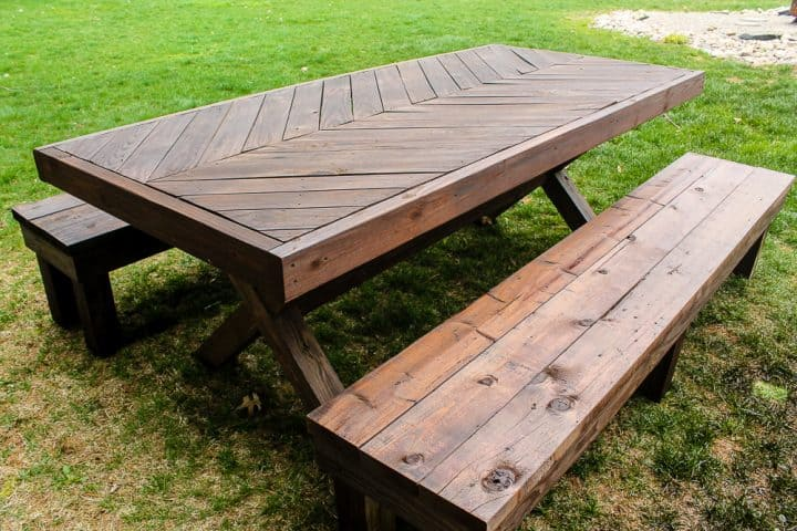 How to Stain a Picnic table and benches with a sprayer