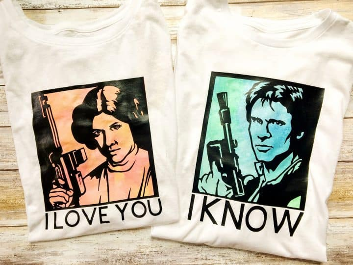Han Solo and Princess Leia couple shirts from Star Wars