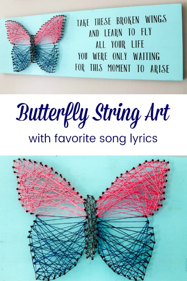 How to Make Butterfly String Art wall decor