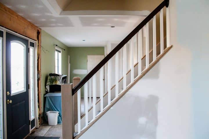 how to open up interior stairwell with railing