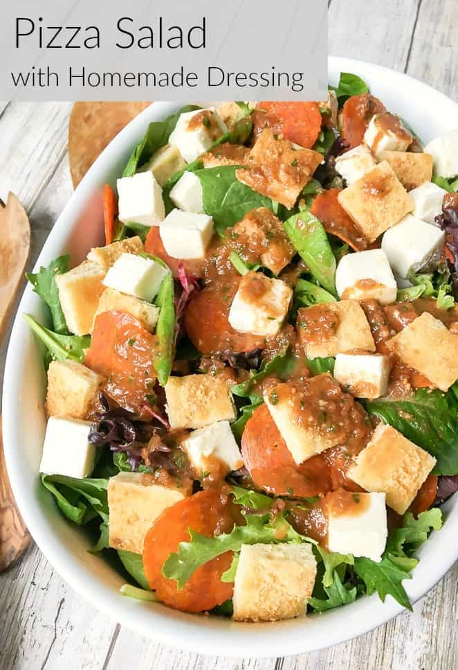 How to make pizza salad with homemade tomato salad dressing 1