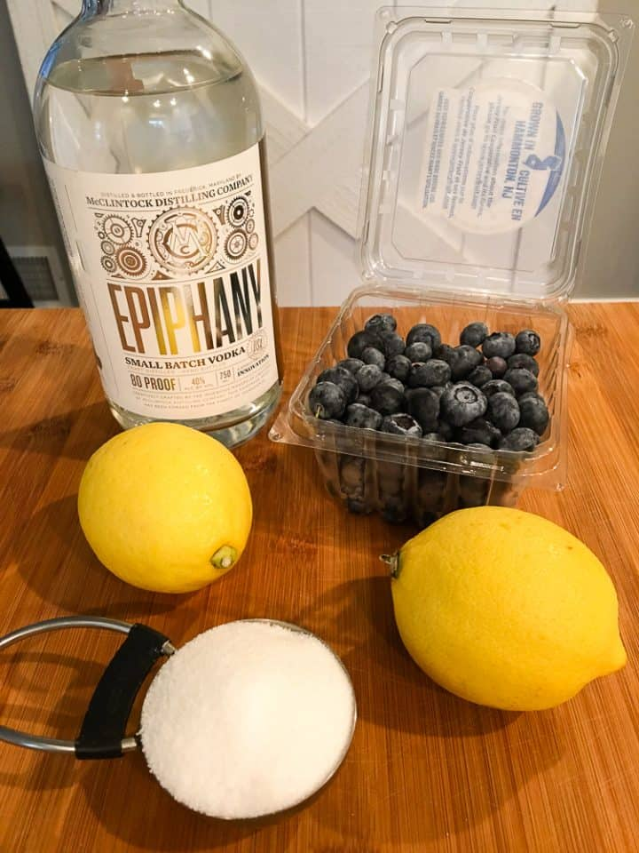 Ingredients needed for blueberry lemonade with vodka