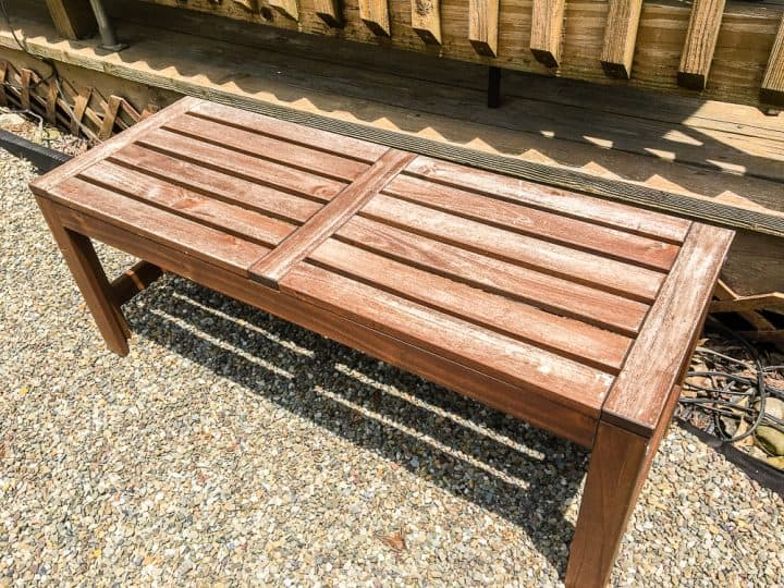 Outdoor wooden bench before refinishing