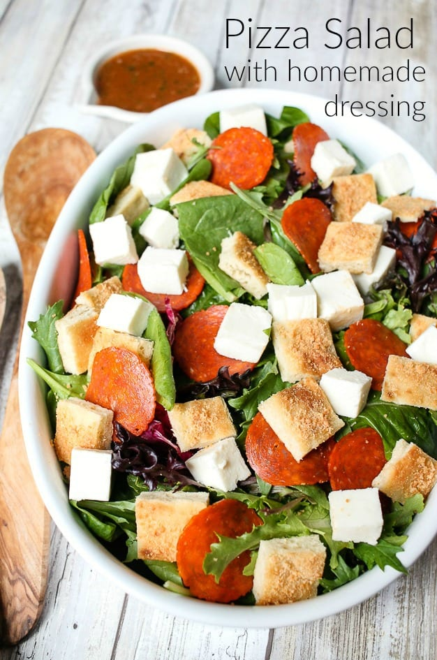 Pizza Salad with Homemade Tomato Dressing 1