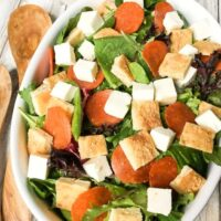 Pizza Salad with Homemade Tomato Dressing