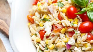Roasted Corn and Tomato Summer Orzo Salad caprese recipe