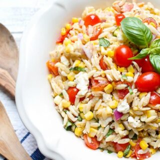 Roasted Corn and Tomato Summer Orzo Salad caprese recipe