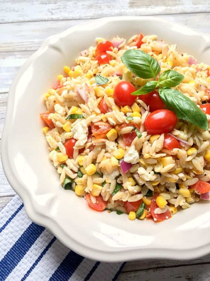 Roasted Corn and Tomato Summer Orzo Salad recipe with basil