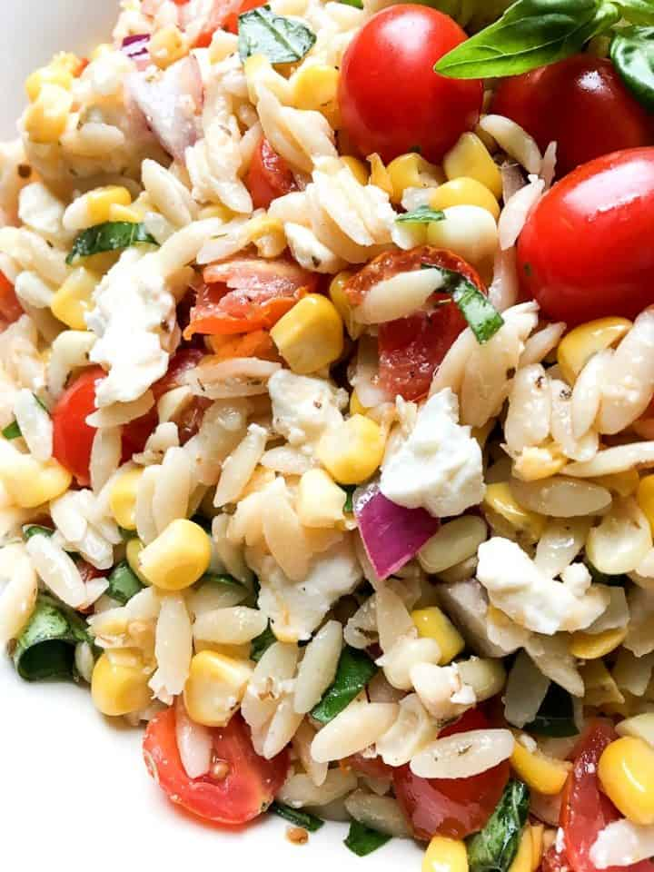 Roasted Corn and Tomato Summer Orzo Salad with feta cheese