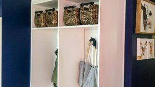 How to build DIY mudroom coat bench with cabinet doors step by step