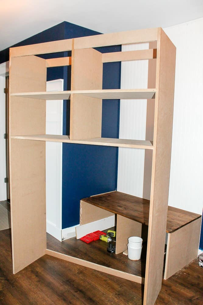 How to build DIY mudroom coat bench with cubbies step by step