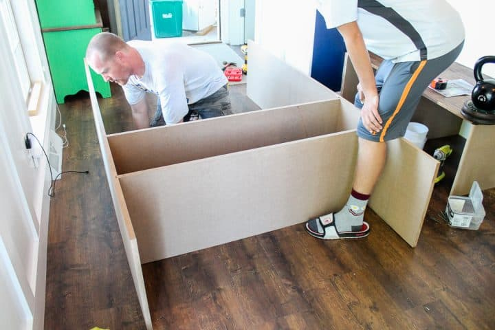 How to build DIY mudroom coat bench with cubbies tutorial