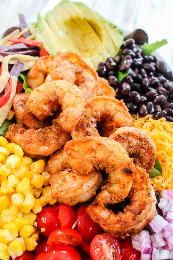 Easy Shrimp Taco Salad Recipe with avocado