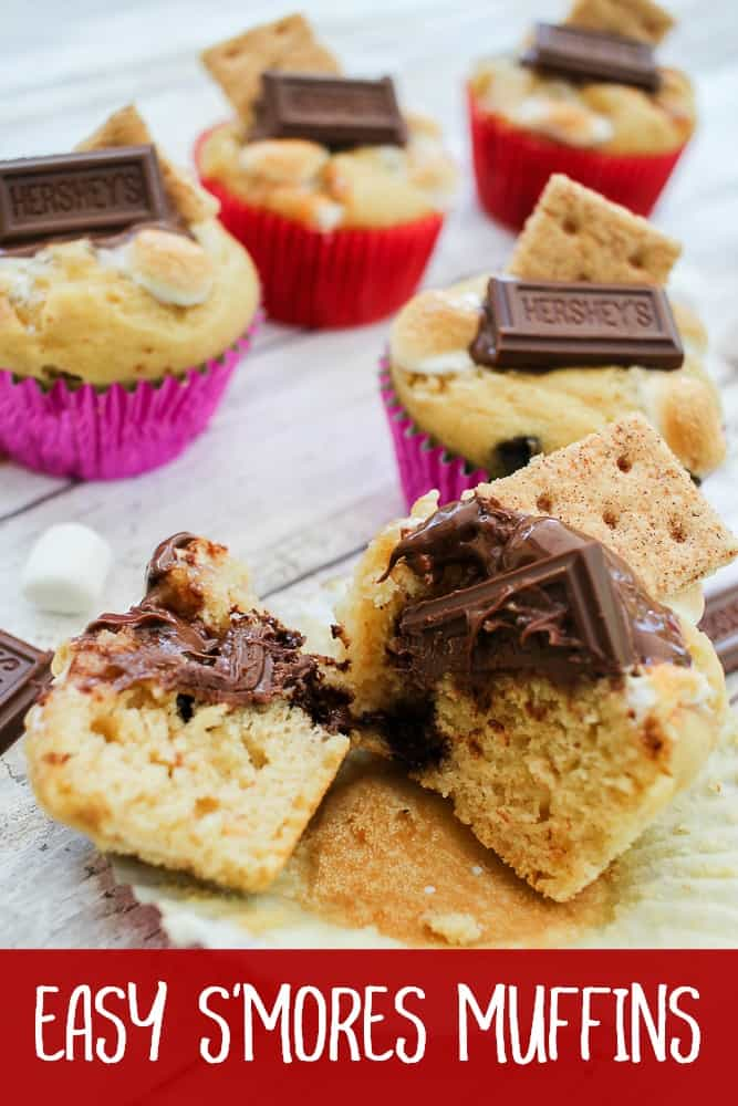 Easy S'mores muffins recipe with marshmallows and chocolate. Text on the bottom of the images says Easy S'mores Muffins