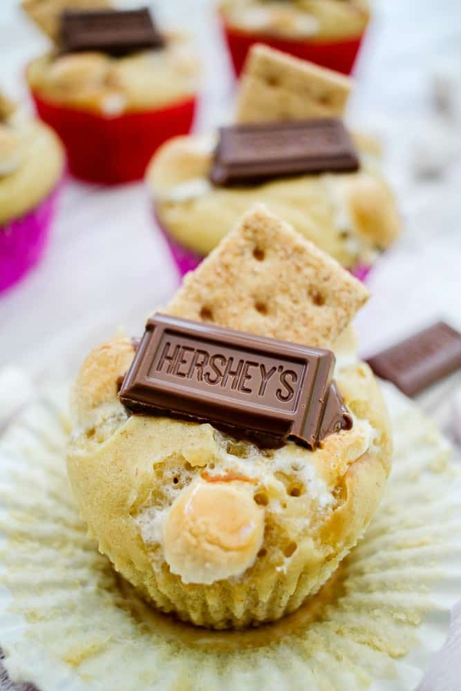 S'mores muffins recipe with marshmallows chocolate