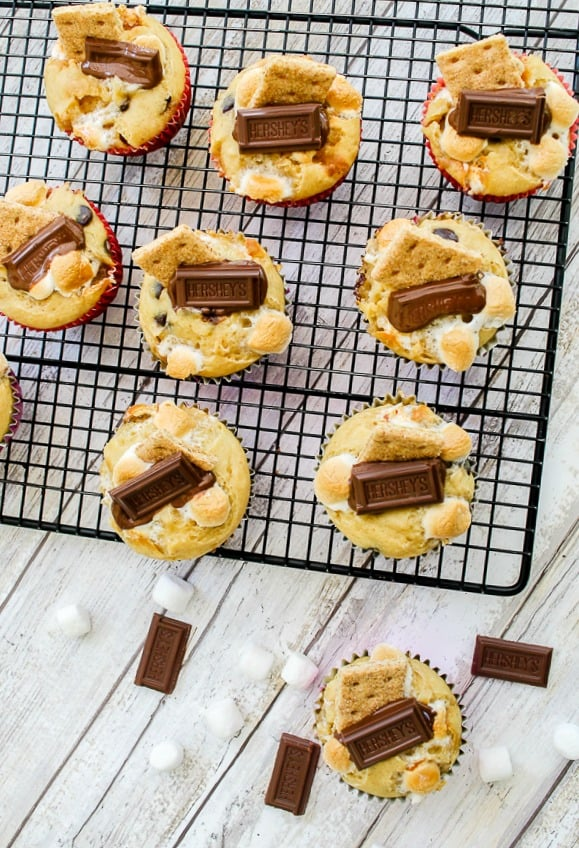 S'mores muffins recipe with Hershey's Chocolate Pieces