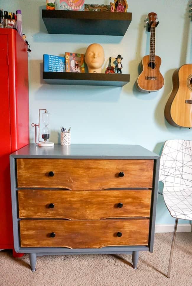 modern rustic DIY dresser refinished