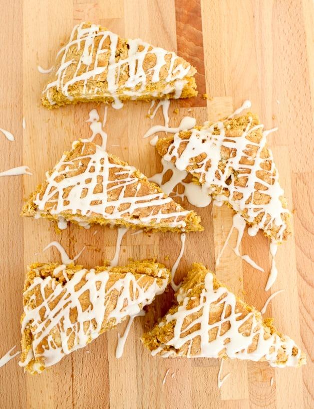 Pumpkin Scone Recipe with cream cheese filling and glaze-13