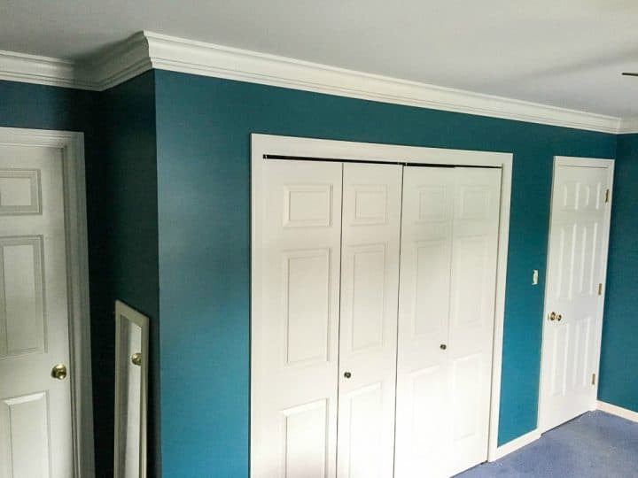 master bedroom makeover with doors and crown moulding