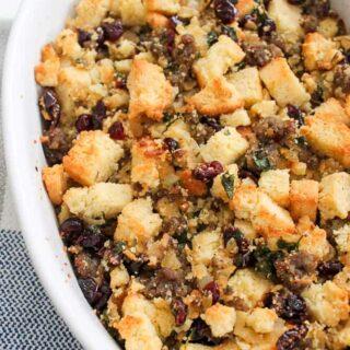 Cornbread Sausage Stuffing Cranberries recipe Thanksgiving-2