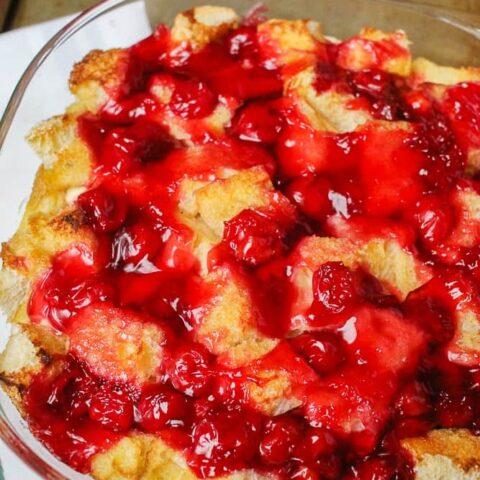 Freezer Breakfast Cherry Cream Cheese Breakfast Casserole