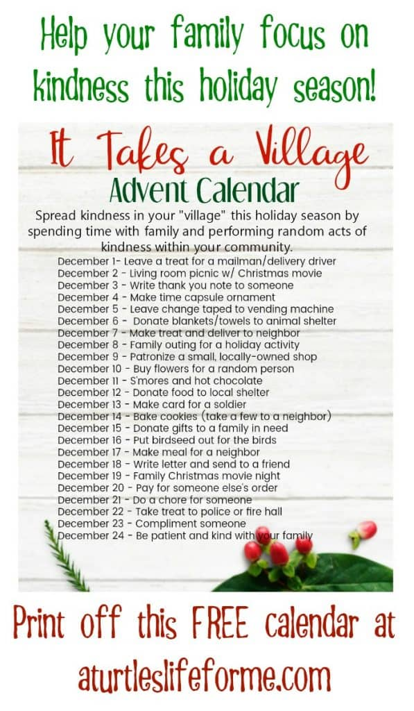 It takes a village random act  of kindness advent calendar free printable of 24 random acts of kindness ideas for Christmas