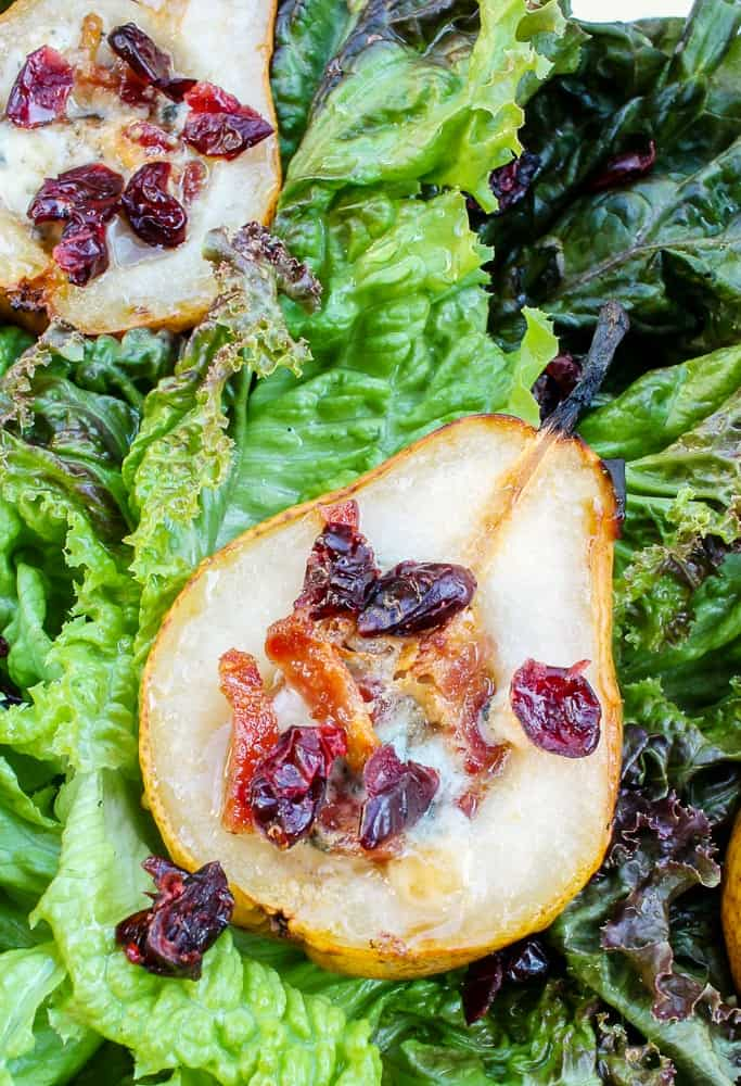 Roasted Pear Salad with Bleu Cheese Bacon Cranberries