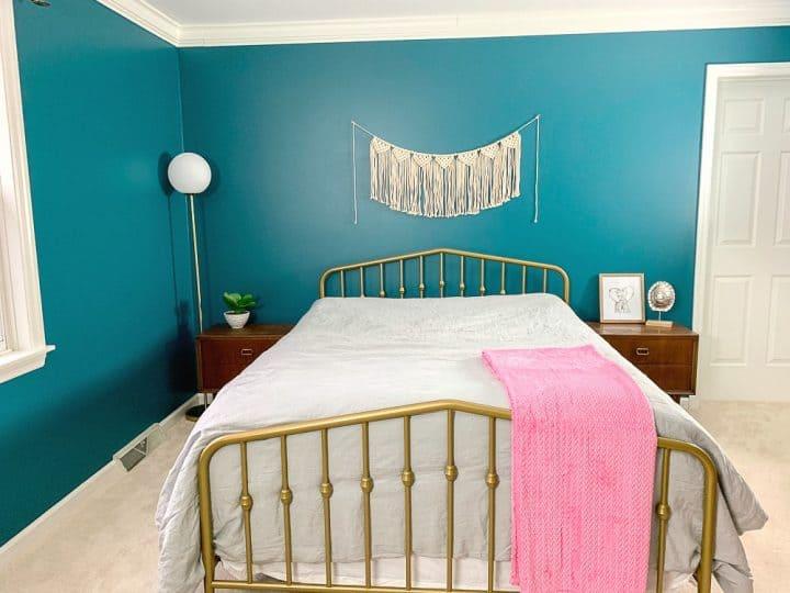 master bedroom makeover novogratz bed gold teal paint
