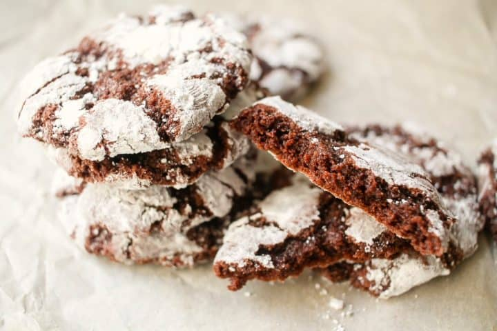Chocolate Fudge Crinkle Cookies with chocolate chips