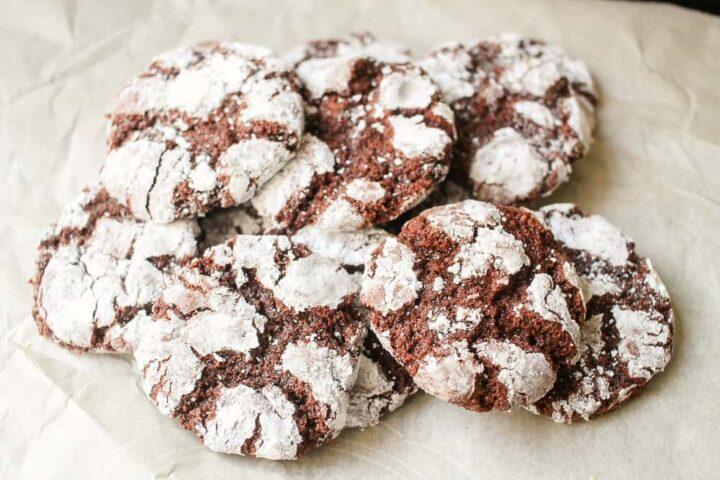 Chocolate Fudge Crinkle Cookies with powdered sugar