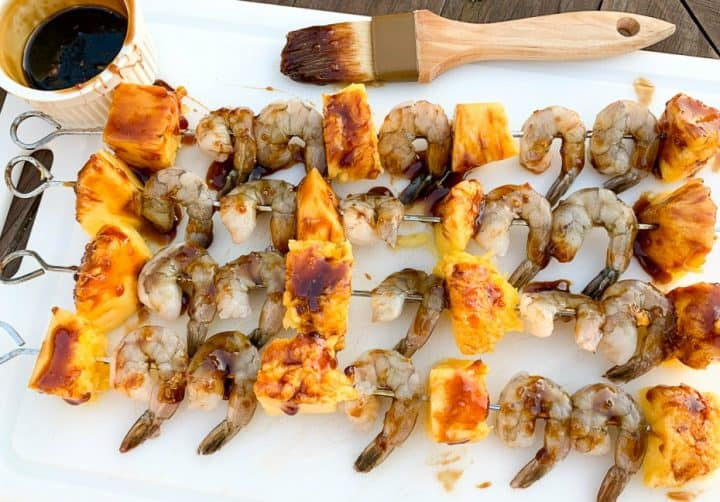 Grilled pineapple and shrimp skewers grilled with homemade teriyaki marinade