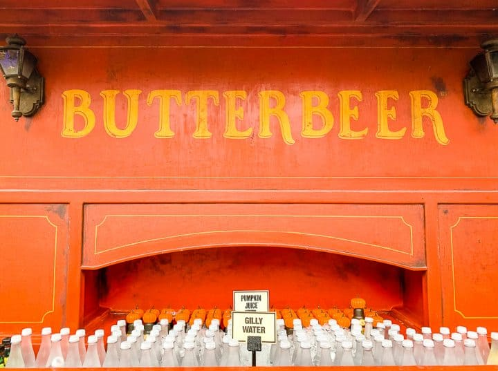 Butterbeer stand at Universal Studios Orlando with water bottles