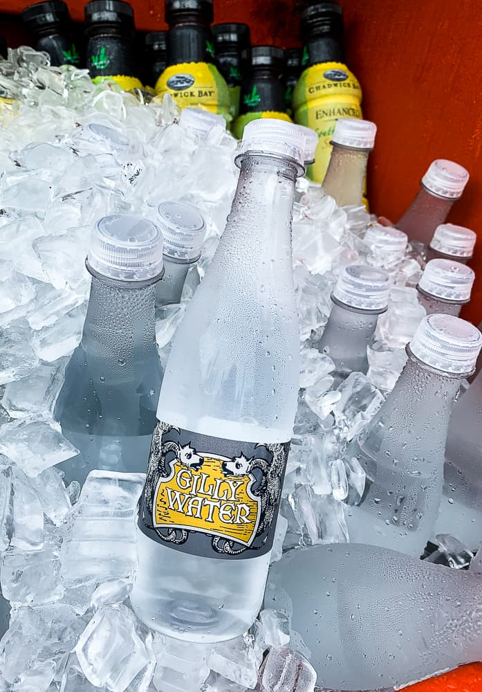 bottles of Gilly water at Butterbeer stand at Wizarding World of Harry Potter